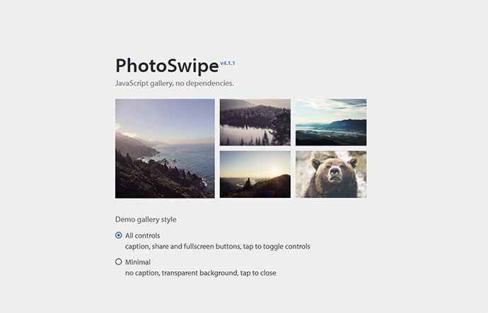 PhotoSwipe - 33+ FREE Web & Mobile Image Slider & Gallery Plugins [year]