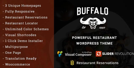 Buffalo - 35+ AWESOME Food & Drink WordPress Theme [year]