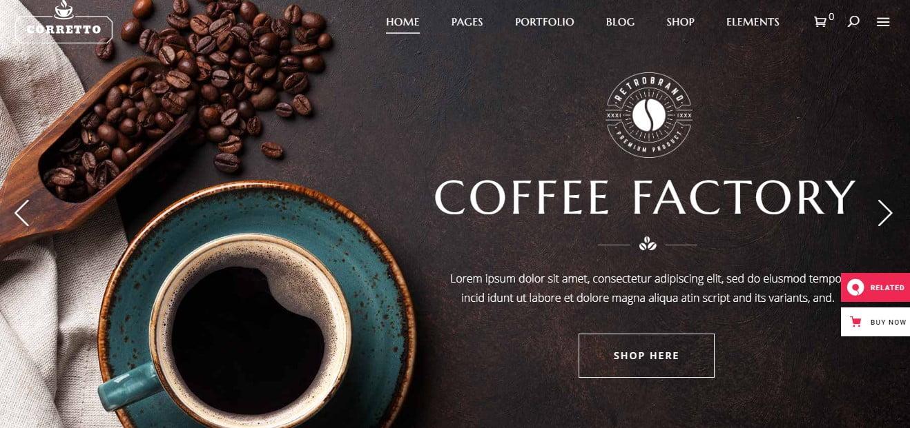 Corretto-1 - 33+ BEST Coffee, Tea & Bakery WordPress Themes [year]