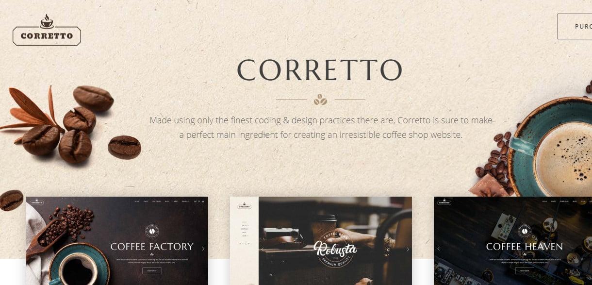 Corretto-3 - 40+ Coffee & Tea Website WordPress Themes [year]