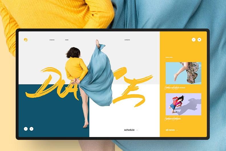 Dancing-School - 63+ BEST FREE Grid Web UI Design IDEA [year]