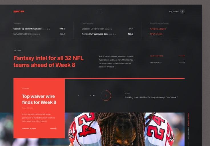 ESPN-Fantasy-Football - 63+ BEST FREE Grid Web UI Design IDEA [year]