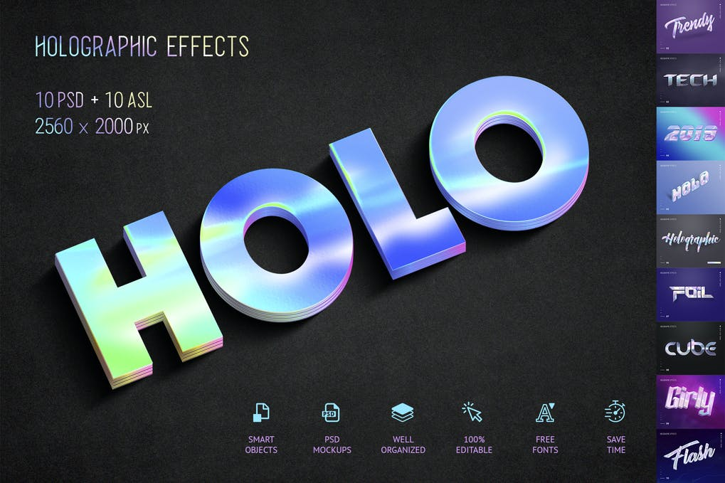 Holographic-Text - 33+ NICE Shiny Metallic Photoshop Effect Styles [year]
