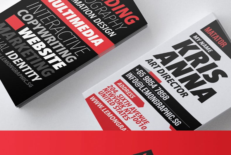 Matator-red-1 - 53+ FREE Typographic Business Cards IDEA [year]
