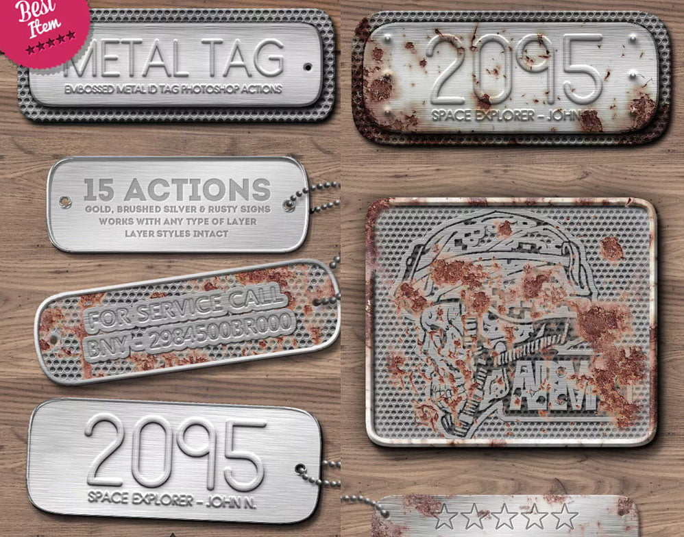 Metal-Tag - 33+ NICE Shiny Metallic Photoshop Effect Styles [year]