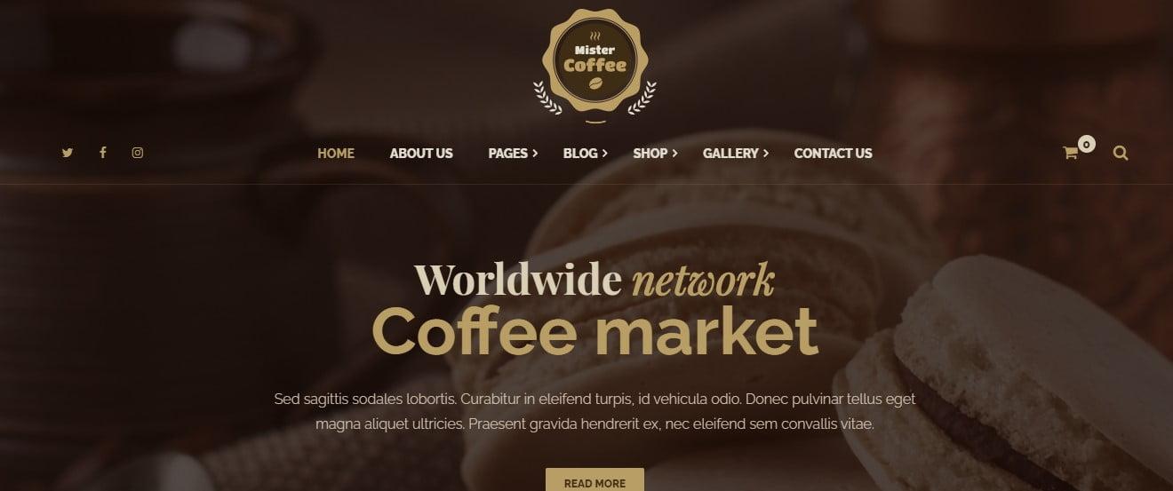 Mister-Coffee - 33+ BEST Coffee, Tea & Bakery WordPress Themes [year]