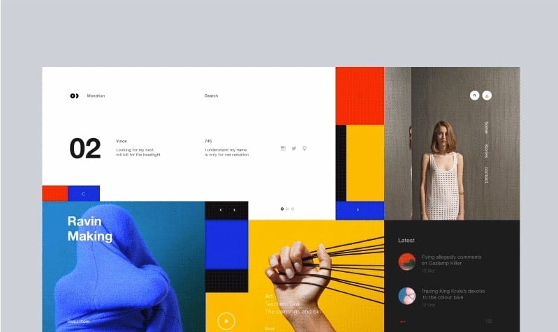 Mondrian - 63+ BEST FREE Grid Web UI Design IDEA [year]