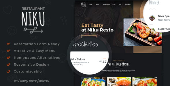 Niku - 35+ AWESOME Food & Drink WordPress Theme [year]