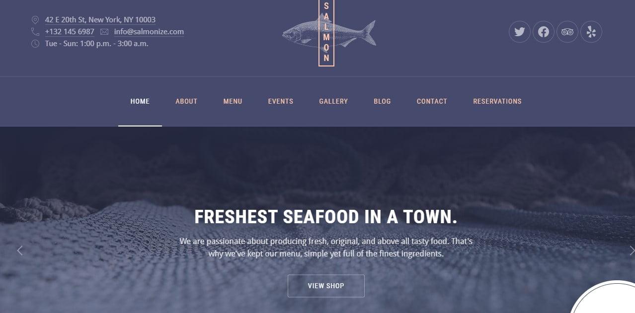 Salmon - 33+ BEST Coffee, Tea & Bakery WordPress Themes [year]