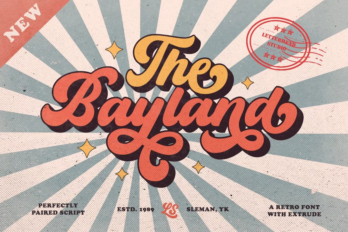 The-Bayland - 38+ COOL Ornate Vintage & Retro Fonts [year]