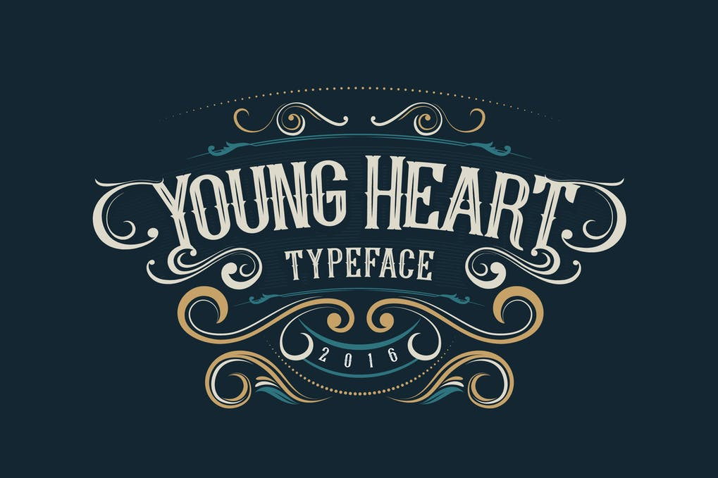 Young-Heart-Typeface - 38+ COOL Ornate Vintage & Retro Fonts [year]