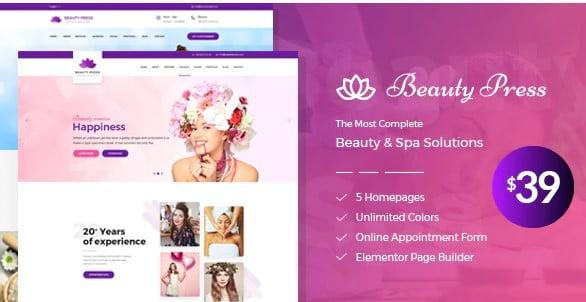 Beauty-Salon-Spa - 35+ TOP Color Schemes WordPress Theme [year]