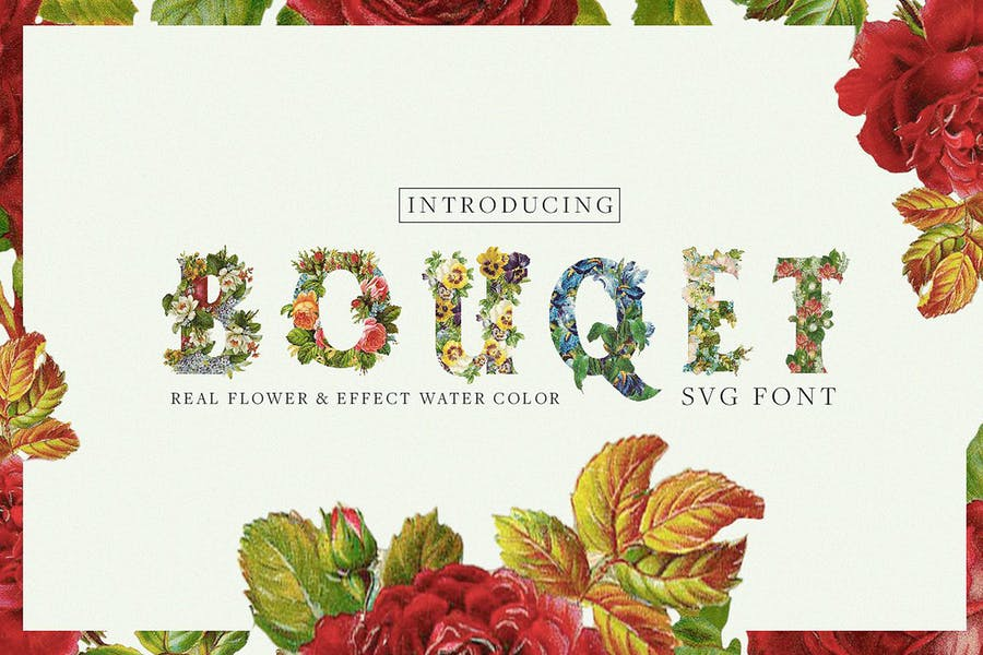 Bouqet-Flower-Watercolor - 38+ COOL Opentype SVG Fonts [year]