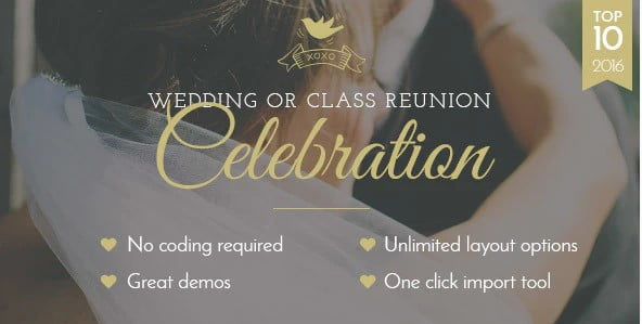 Celebration - 35+ GREAT Wedding Invitation WordPress Themes [year]