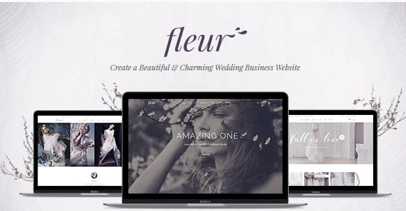 Fleur - 35+ GREAT Wedding Invitation WordPress Themes [year]