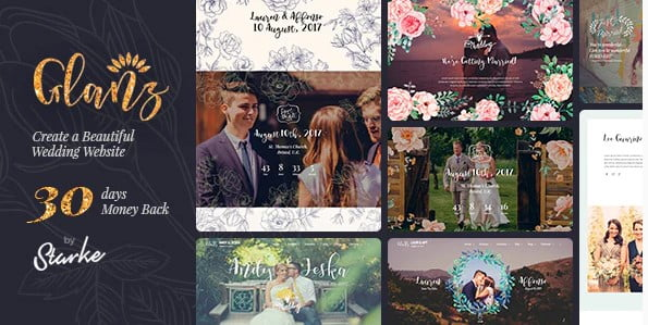 Glanz - 35+ GREAT Wedding Invitation WordPress Themes [year]