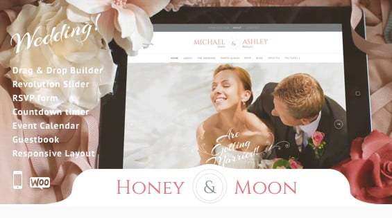 Honeymoon - 35+ GREAT Wedding Invitation WordPress Themes [year]