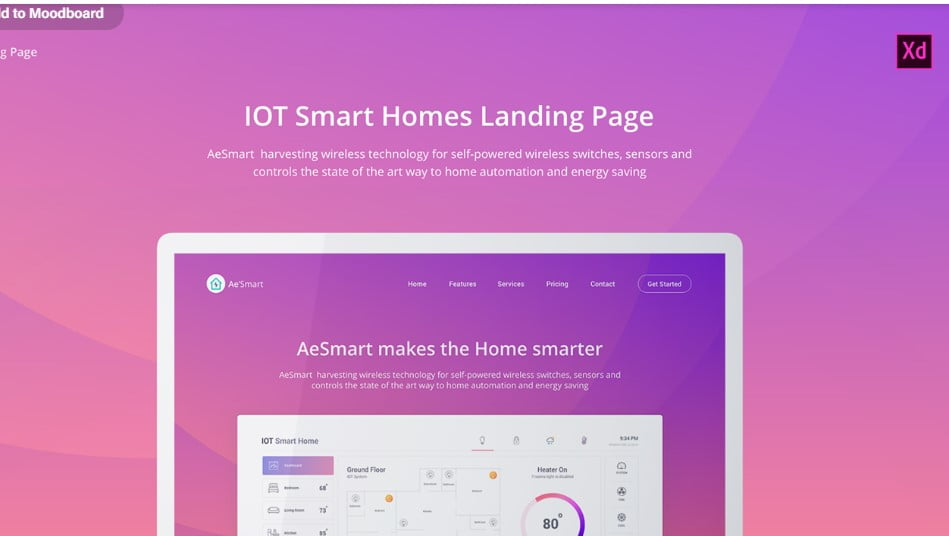 IOT-Smart-Home - 53+ BEST FREE Adobe XD Web & Mobile Kits [year]