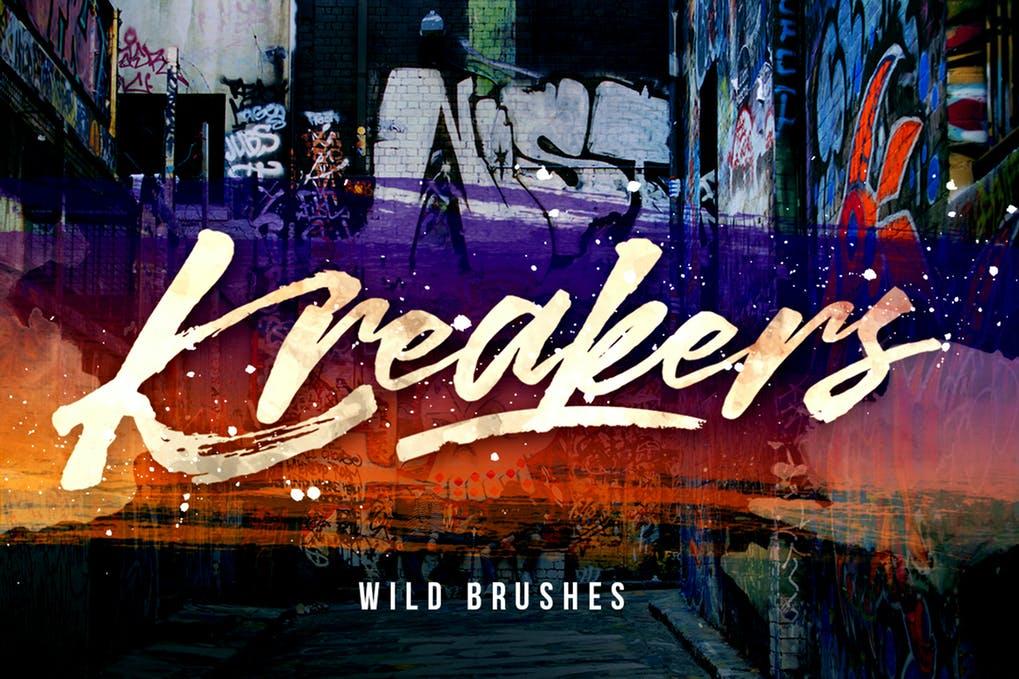 Kreakers-Street-Wild-Brush - 50+ BEST Typography Logo Fonts [year]
