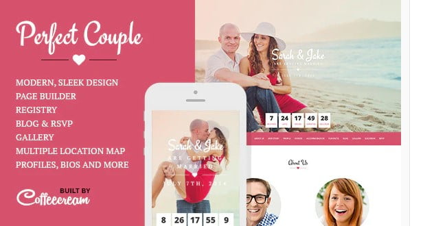 Perfect-Couple - 35+ GREAT Wedding Invitation WordPress Themes [year]
