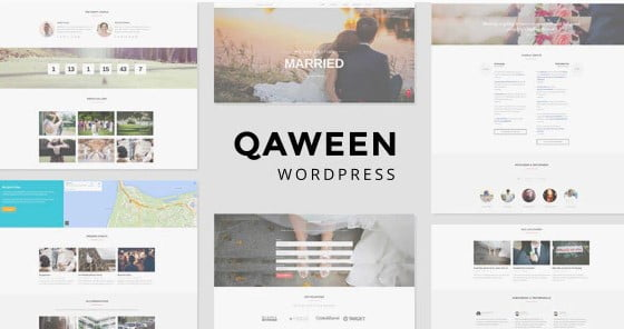 Qaween - 35+ GREAT Wedding Invitation WordPress Themes [year]