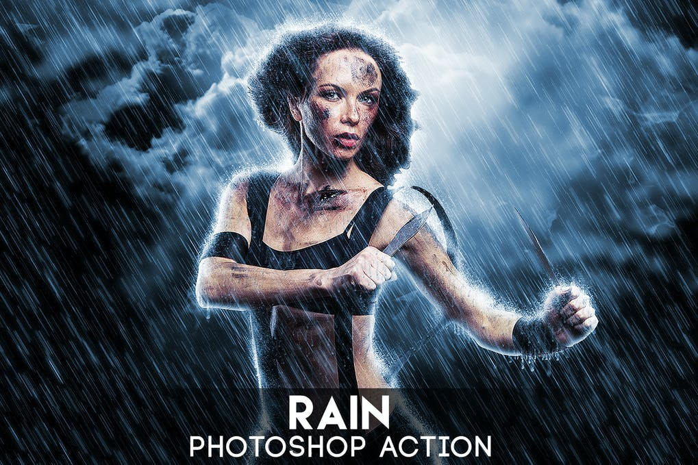Rain-Photoshop-Action - 50+ BEST Photo Editing Photoshop Actions [year]