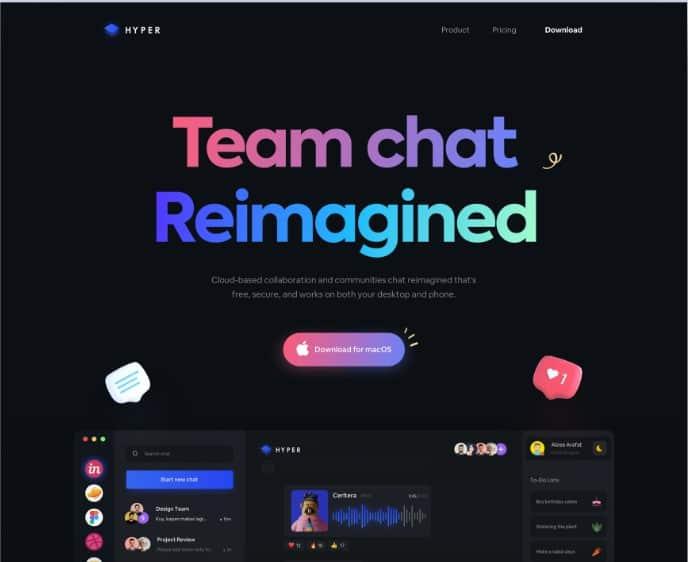 Chat-App-Landing - 39 BEST FREE Bold Typography Web Designs