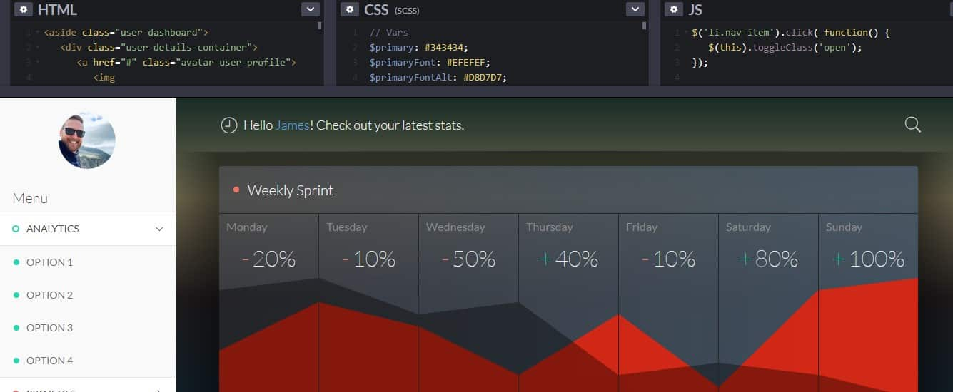 CodePen-Home - 33 NICE FREE CSS Dashboard Designs