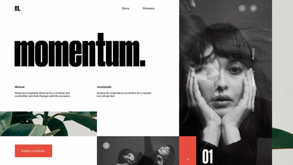 Momentum - 39 BEST FREE Bold Typography Web Designs