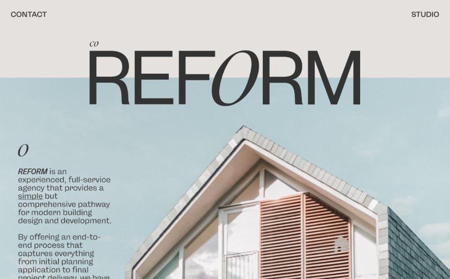REFORM - 39 BEST FREE Bold Typography Web Designs