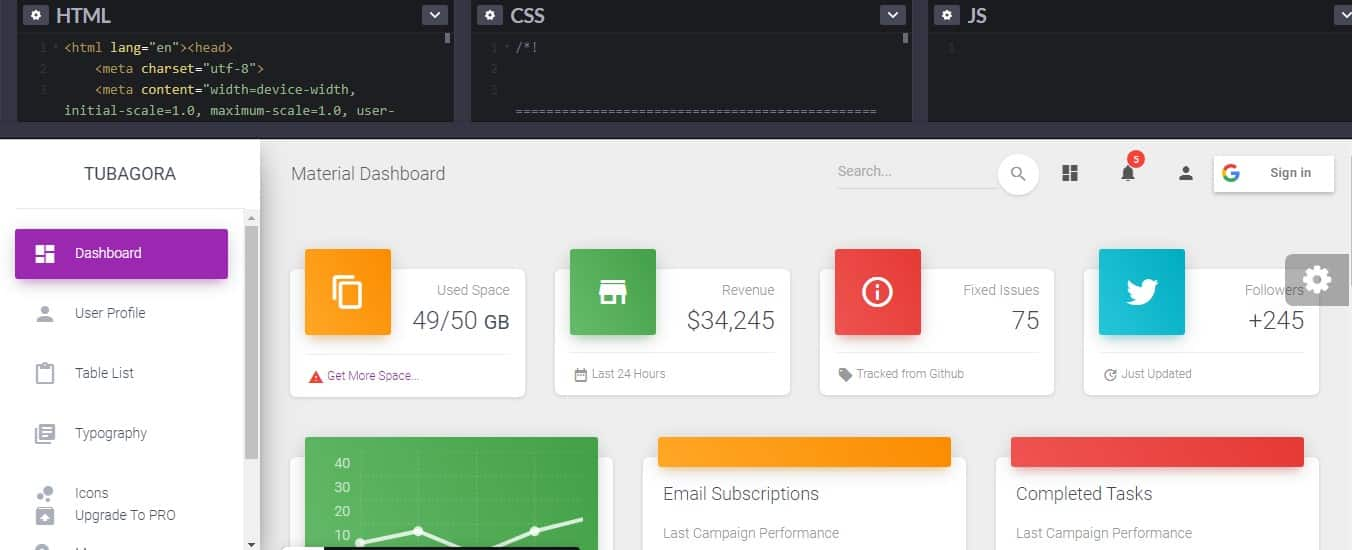 Untitled - 33 NICE FREE CSS Dashboard Designs